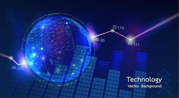 Connessione di rete del mondo tecnologico. mappa del mondo punto e linea composizione concetto di business globale.