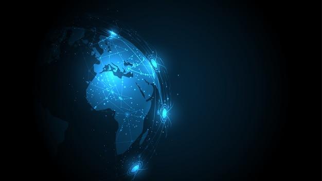 Connessione di rete globale mappa del mondo astratto tecnologia sfondo