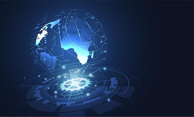 Connessione di rete globale. punto della mappa del mondo