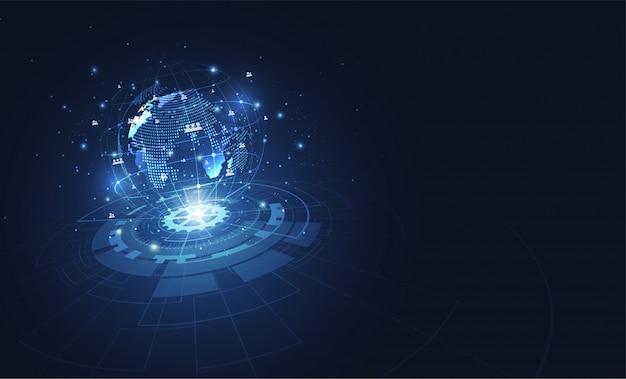 Connessione di rete globale, punto della mappa del mondo
