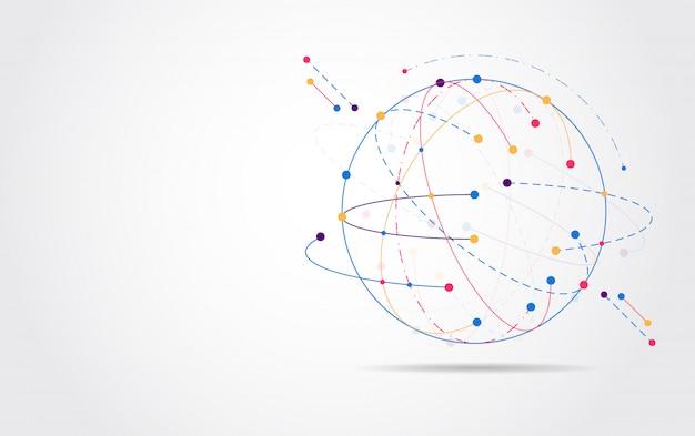 Connessione di rete globale punto della mappa del mondo
