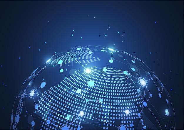 Connessione di rete globale. punto e linea della mappa del mondo
