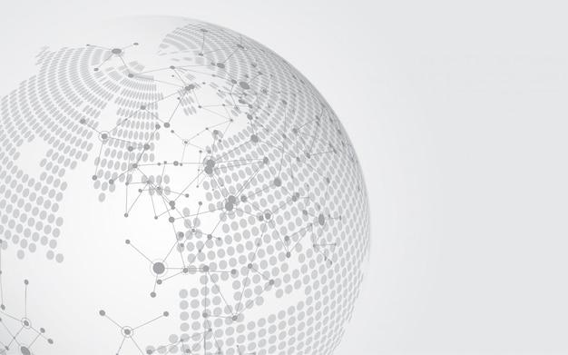 Connessione di rete globale sfondo di tecnologia astratta mappa mondo
