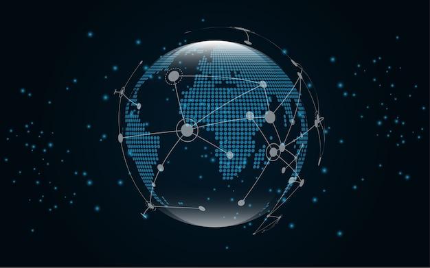 Connessione di rete globale sfondo di tecnologia mappa mondiale