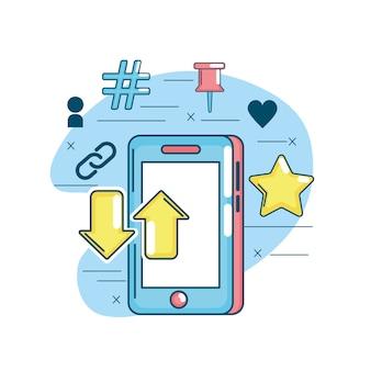 Connessione social media nella rete digitale