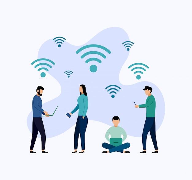 Connessione wireless di zona hotspot wifi gratuita pubblica, illustrazione di concetto di affari