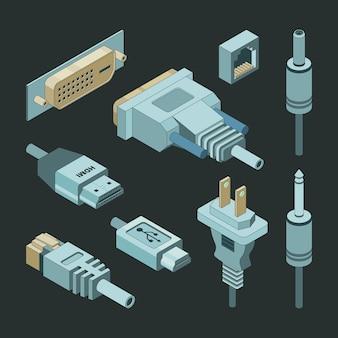 Connettori a spina, vga disegnati a mano, cavo video, alimentazione elettrica, prese per porta usb, adattatori isometrici