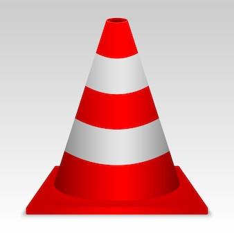 Cono di traffico rosso 3d. segno di vettore