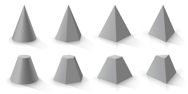 Cono grigio e set di piramidi