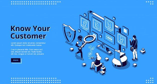 Conosci il tuo banner cliente. concetto di cliente della banca di identificazione, analisi del rischio e del trust, antiriciclaggio.