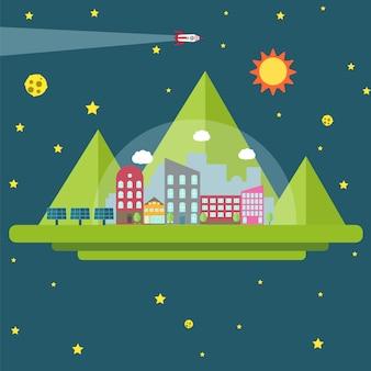 Conquista dello spazio. futura colonia umana. elementi spaziali.
