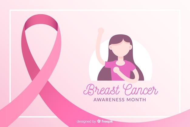 Consapevolezza del cancro al seno con l'illustrazione della ragazza e del nastro
