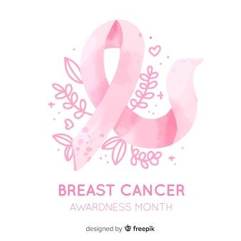 Consapevolezza del cancro al seno con nastro acquerello