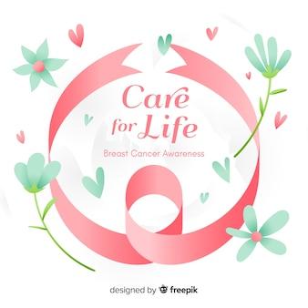 Consapevolezza del cancro al seno con nastro disegnato a mano