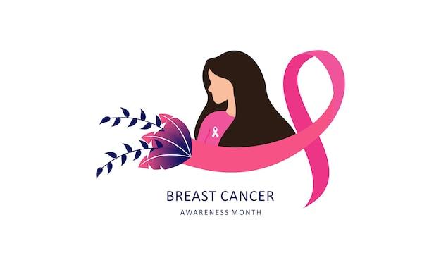 Consapevolezza del cancro al seno con nastro e illustrazione logo