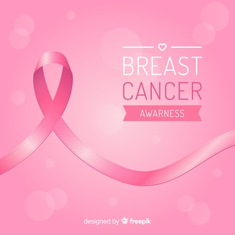 Consapevolezza del cancro al seno con nastro in design piatto