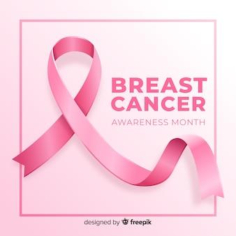 Consapevolezza del cancro al seno con realistico nastro rosa