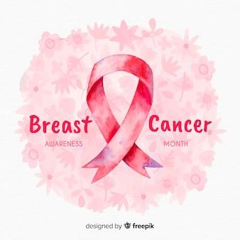 Consapevolezza del cancro al seno dell'acquerello con nastro