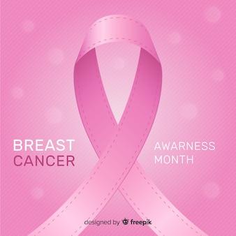Consapevolezza del cancro al seno design piatto con nastro