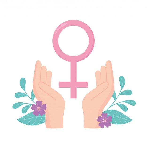 Consapevolezza del cancro al seno mani genere femminile segno disegno vettoriale e illustrazione
