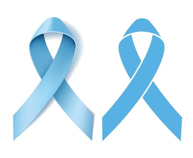 Consapevolezza del nastro del cancro alla prostata. simbolo della malattia. nastro azzurro realistico e nastro azzurro silhouette su sfondo bianco. illustrazione
