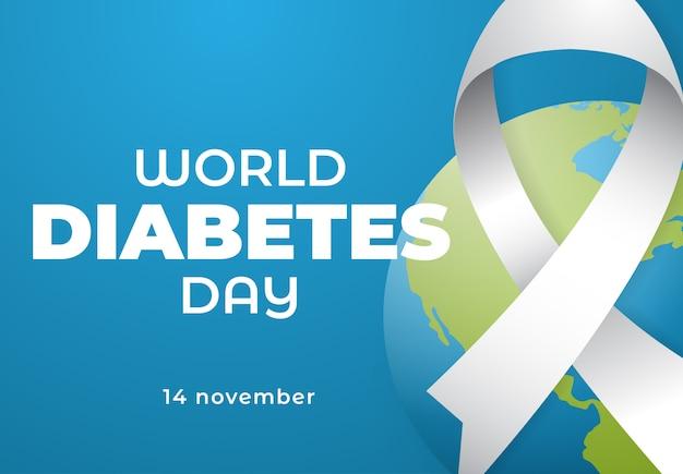 Consapevolezza della giornata mondiale del diabete con l'ornamento del nastro e del mondo