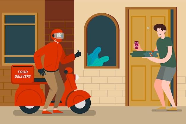 Consegna a distanza di alimenti sicuri alla porta