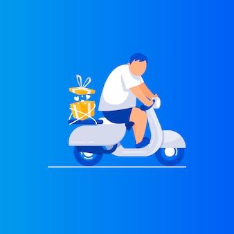 Consegna dei regali l'uomo è in sella a uno scooter.