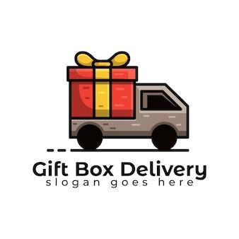 Consegna del camion scatola regalo o modello logistico logo