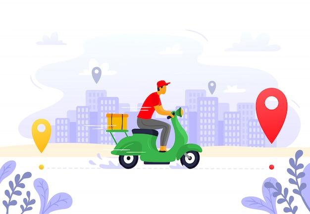 Consegna del cibo. fornitura di corriere espresso, corriere su scooter merci e illustrazione dell'itinerario del pacco pacchi