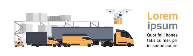 Consegna del magazzino, diverse autocarri e camion sopra container spedizione e trasporto concetto modello di banner orizzontale