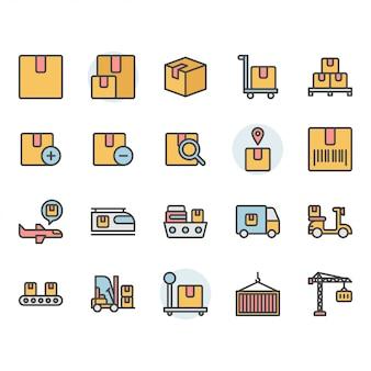 Consegna del pacchetto e set di icone e simboli relativi alla logistica