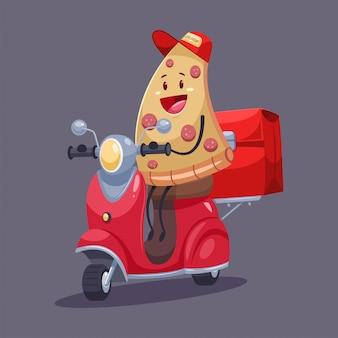 Consegna della pizza carattere di corriere di cibo divertente sul ciclomotore con una borsa.