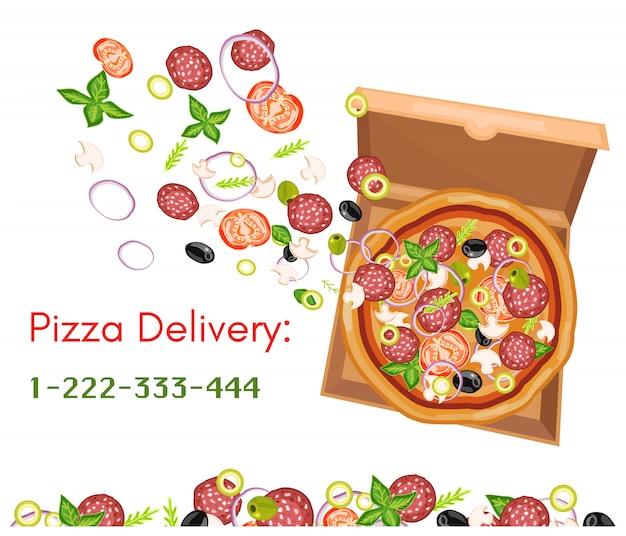 Consegna della pizza isolata sull'illustrazione bianca di vettore