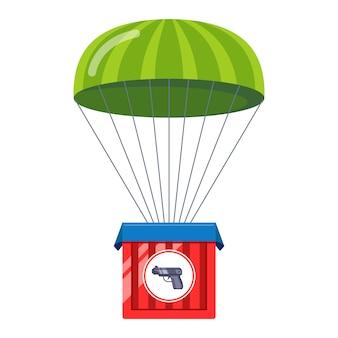 Consegna di armi con paracadute. bonus in un gioco per computer. illustrazione piatta