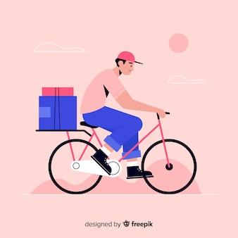 Consegna di biciclette piane con sfondo di pacchetti