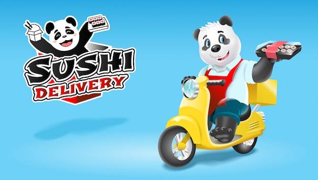 Consegna di sushi panda su scooter