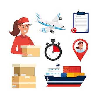 Consegna donna con scatola e servizio di trasporto