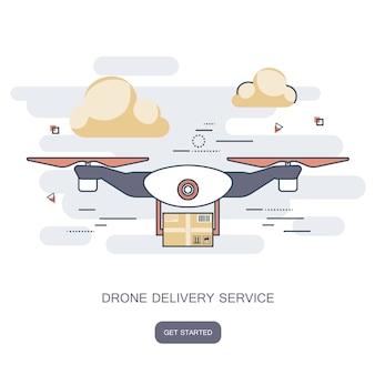 Consegna drone con il pacchetto