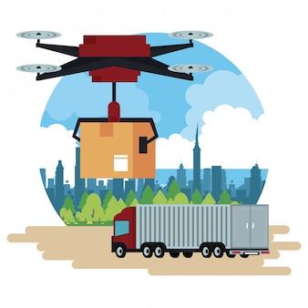 Consegna drone e veicolo in città