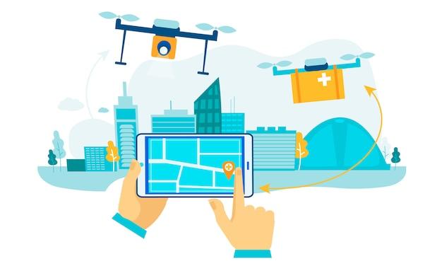 Consegna drone. spedizione del pacco futuro.