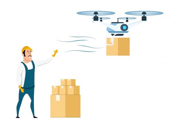 Consegna drone volante da magazzino o magazzino