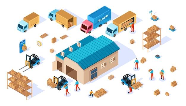 Consegna e magazzino. illustrazione isometrica.