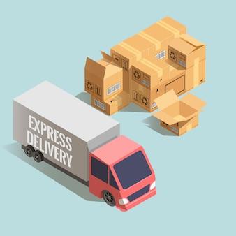 Consegna espressa. grande camion con pila di scatole di cartone.