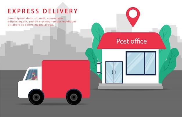 Consegna espressa. ufficio postale e camion per le consegne. servizio postale.