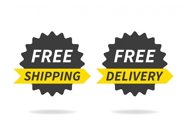 Consegna gratuita, spedizione gratuita. banner di consegna su bianco