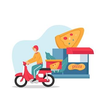 Consegna, il ragazzo sul ciclomotore porta la pizza. personaggi. illustrazione design piatto.
