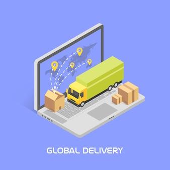 Consegna in tutto il mondo. stile isometrico,