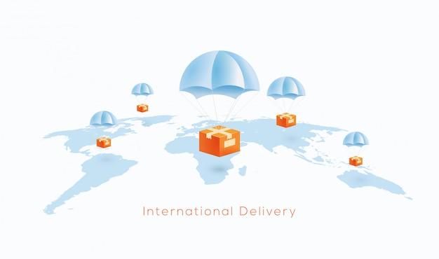 Consegna internazionale o concetto di spedizione in tutto il mondo con i pacchi che cadono sul paracadute alla mappa del globo del mondo. illustrazione