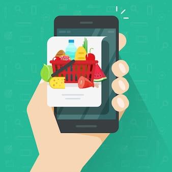 Consegna o ordine dell'alimento di internet tramite il fumetto piano dell'illustrazione di vettore del cellulare o del telefono cellulare